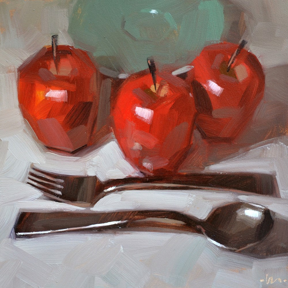 """Orderly Apples"" original fine art by Carol Marine"