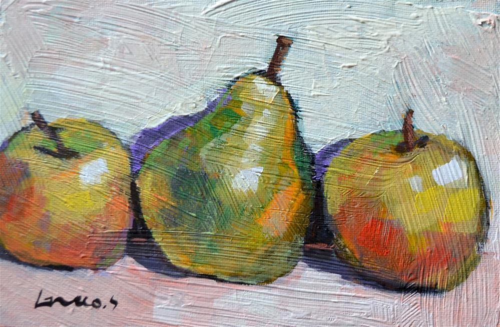 """Apples and pear"" original fine art by salvatore greco"