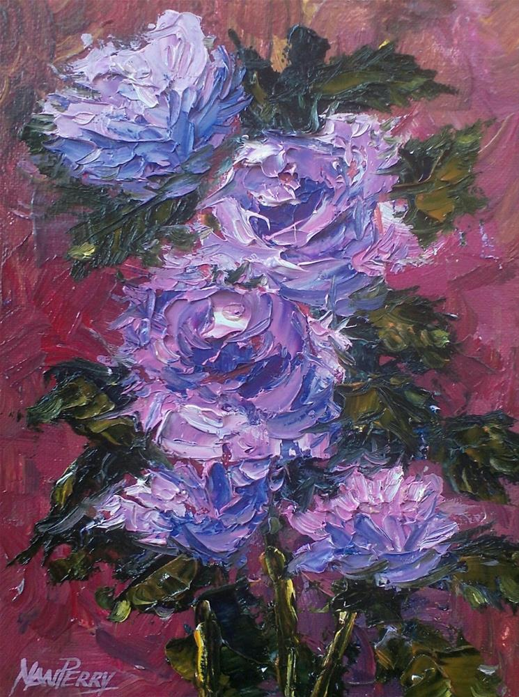 """Floral with Palette"" original fine art by Nan Perry"