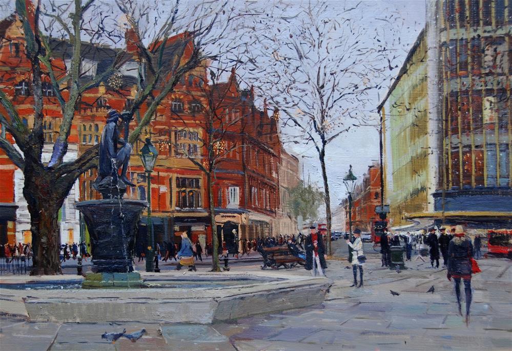 """Sloane Square, Grey December Afternoon"" original fine art by Adebanji Alade"