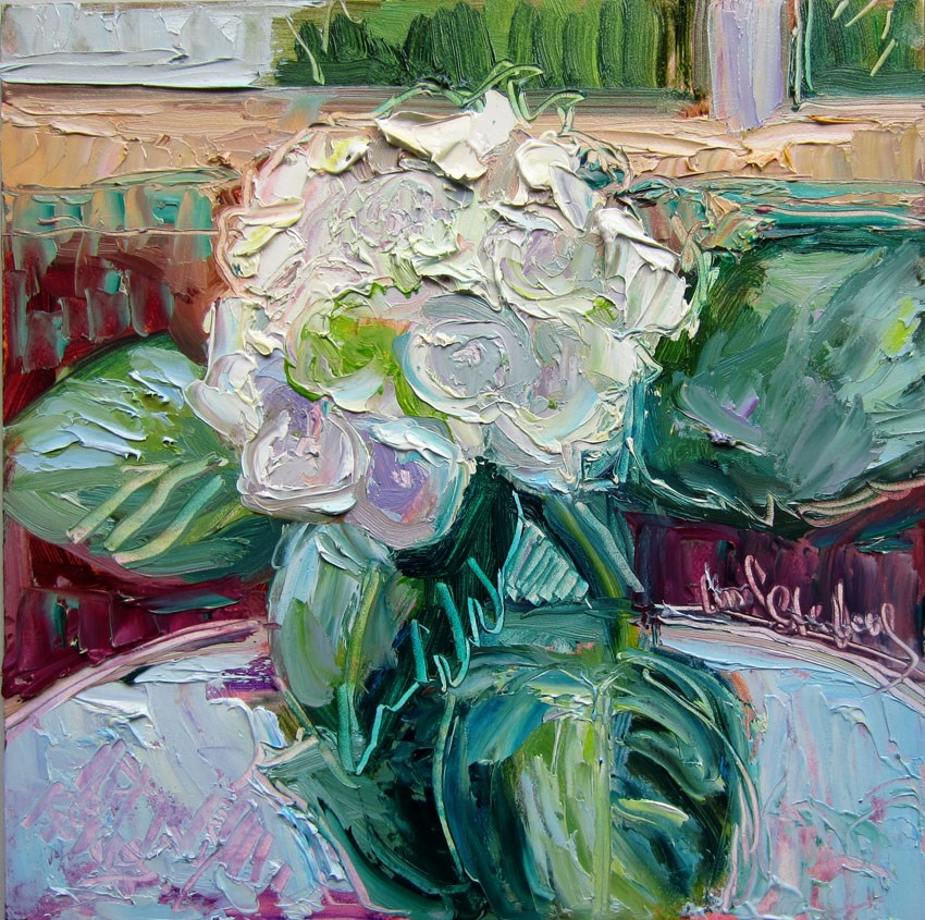 """White Hydrangea Close Up"" original fine art by Carol Steinberg"