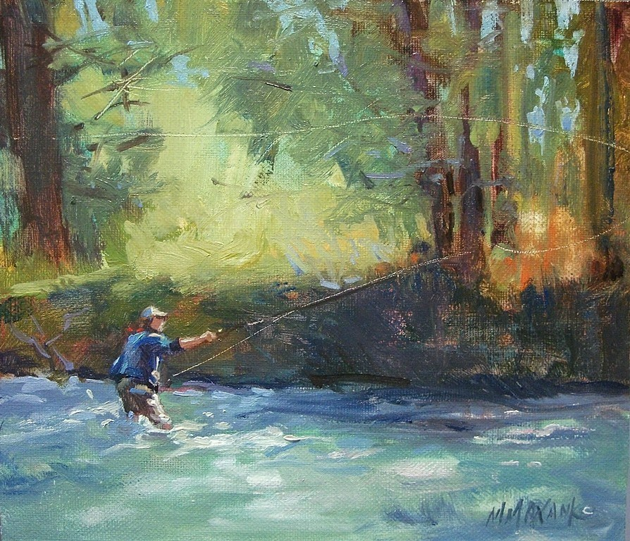 """Fishing The Shadows"" original fine art by Mary Maxam"