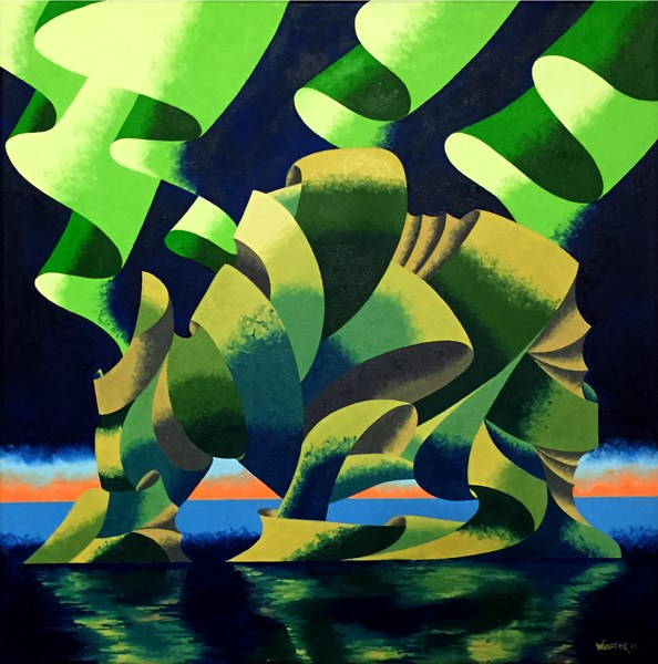 """Mark Webster Artist - Hvítserkur - Abstract Geometric Futurist Landscape Oil Painting"" original fine art by Mark Webster"