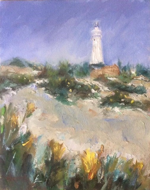 """Lighthouse at Cape St Frances"" original fine art by Thea Lombaard"