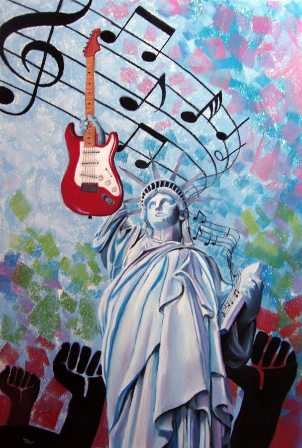 Rock and Roll Freedom original fine art by Ria Hills