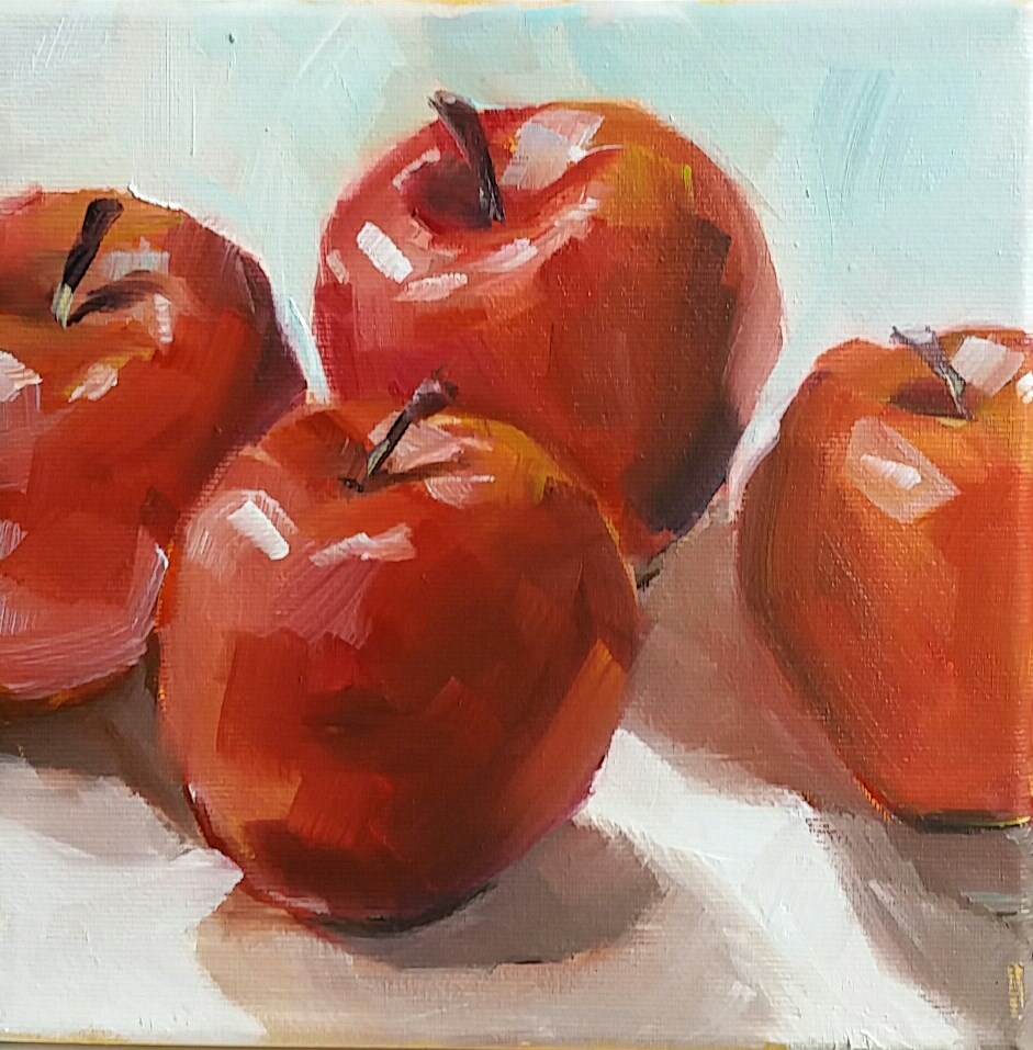 """Red apples"" original fine art by Sabine Hüning"