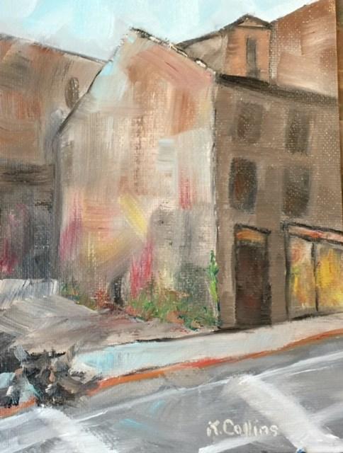 """""""Urban Corner"""" original fine art by Kathy Collins"""