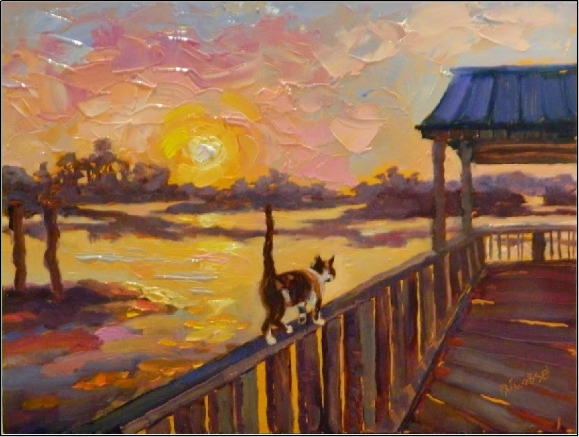 """Sunsets with Jill, 9x12, cats, paintings of cats, sunsets, Cedar Key"" original fine art by Maryanne Jacobsen"