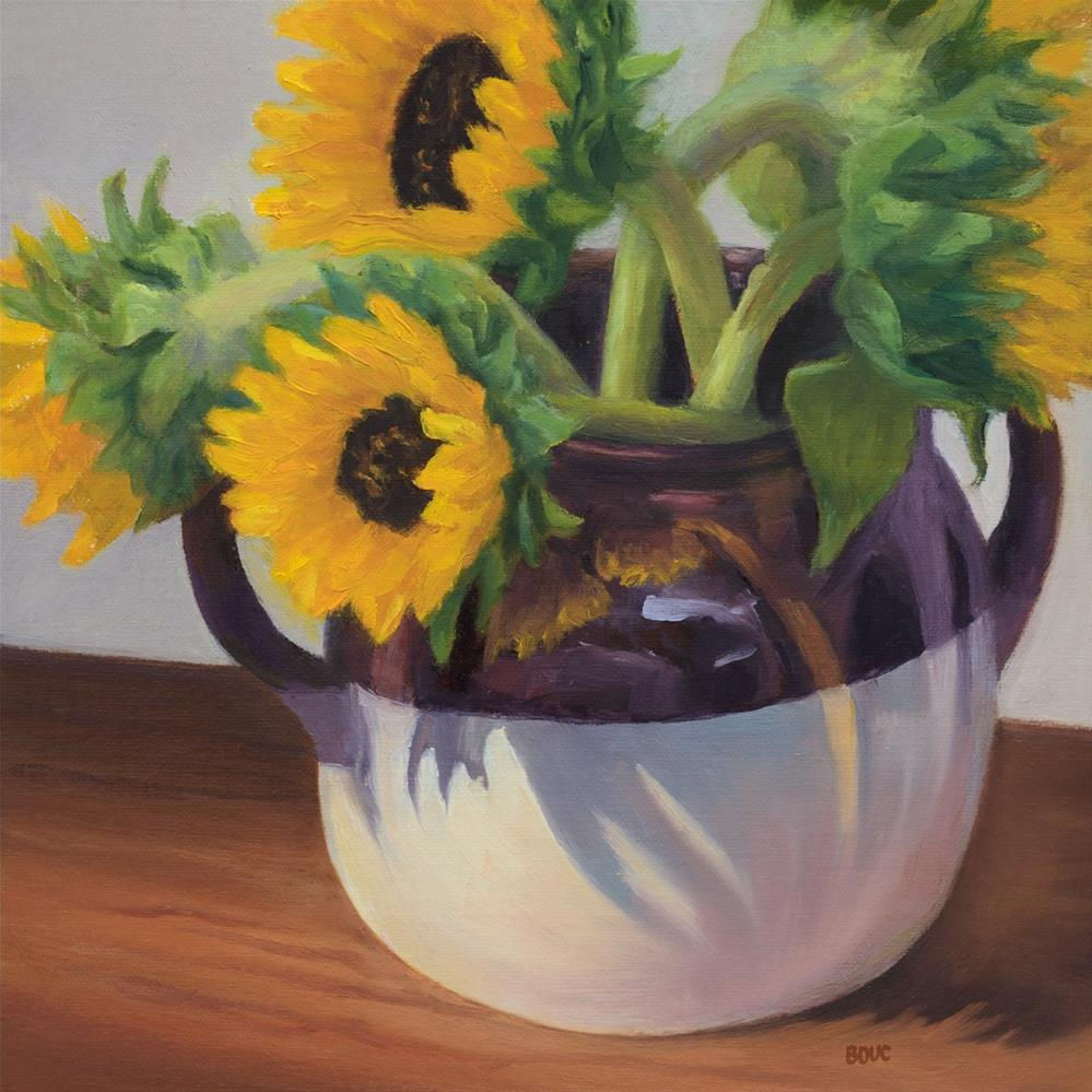 """Sunflowers in Found Crock"" original fine art by Jana Bouc"
