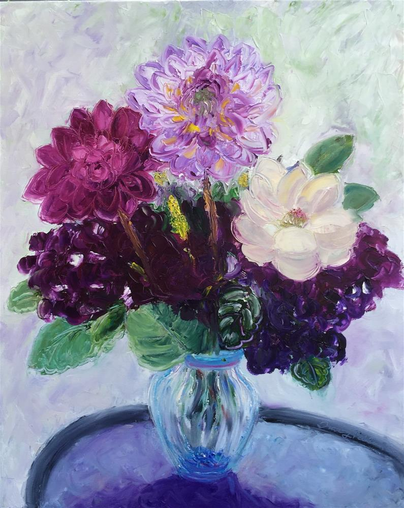 """Dahlia and Friends in Vase"" original fine art by Tracy Feldman"
