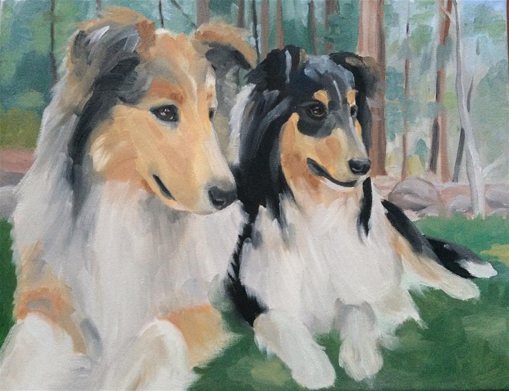 """Collies in the Woods"" original fine art by Carol Stickley"