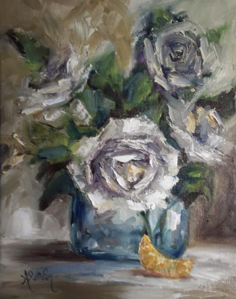 """""""Winter White floral still life by Alabama Artist Angela Sullivan"""" original fine art by Angela Sullivan"""