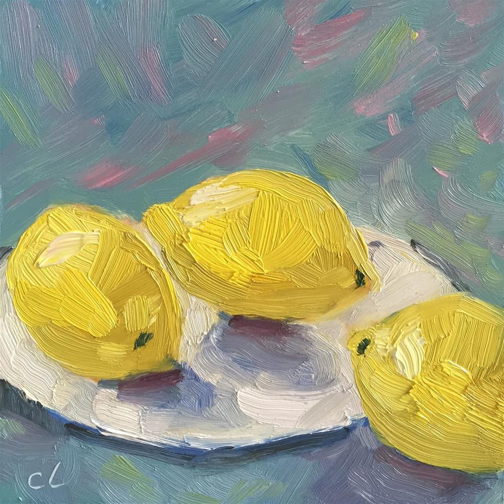 """""""Chatty Lemons"""" original fine art by Cheree Apalona Lueck"""