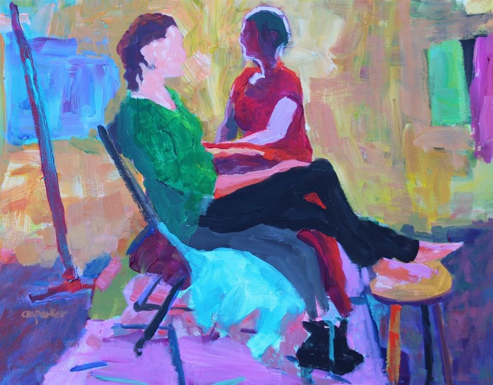 """Two Women Seated"" original fine art by Christine Parker"