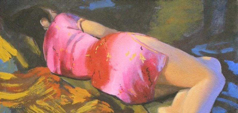 """Pink Dress"" original fine art by Peter Orrock"