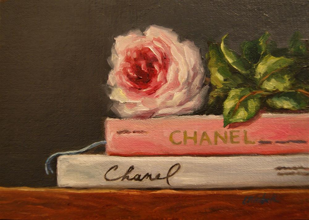 """More About Chanel,  Oil on 5x7 Linen Panel"" original fine art by Carolina Elizabeth"
