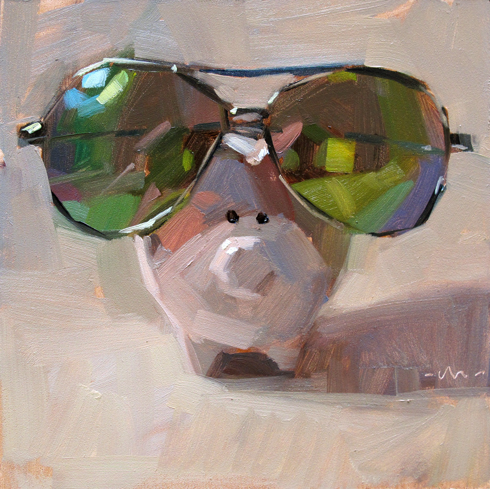 """Pig in Shades"" original fine art by Carol Marine"