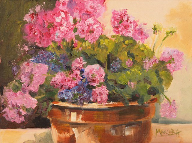 """Pink Geraniums oil painting by Marion Hedger"" original fine art by Marion Hedger"
