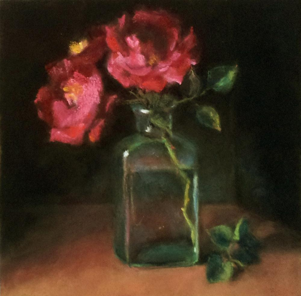 """Vintage Bottle and Tea Roses"" original fine art by Cindy Haase"