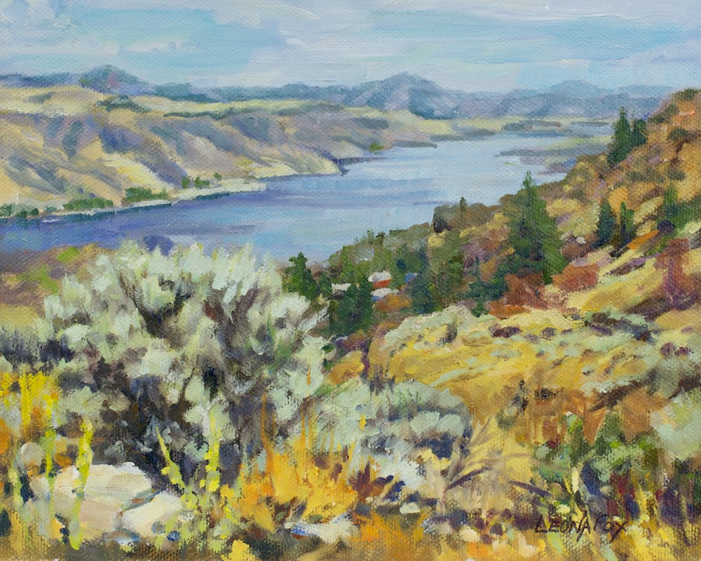 """Grand Coulee Dam, Columbia River"" original fine art by Leona Fox"