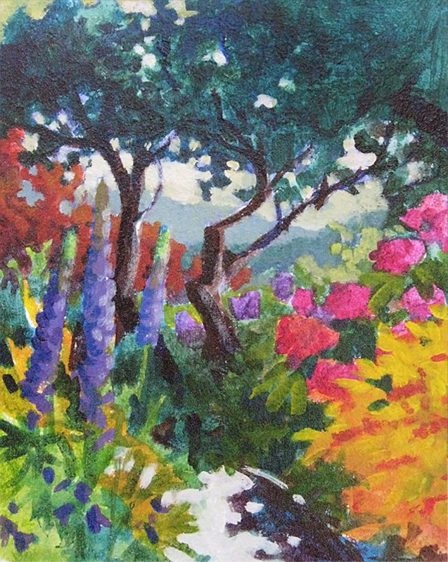 """Garden Study_Island View 6x8"" original fine art by Jan Poynter"