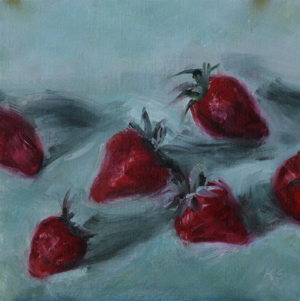 """Fresh Strawberries"" original fine art by Karen Solorzano"