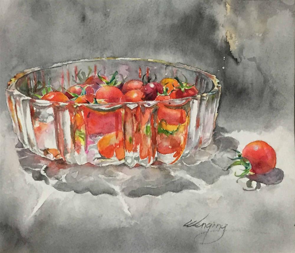 """small tomatose i grew (B)"" original fine art by Wenqing Xu"