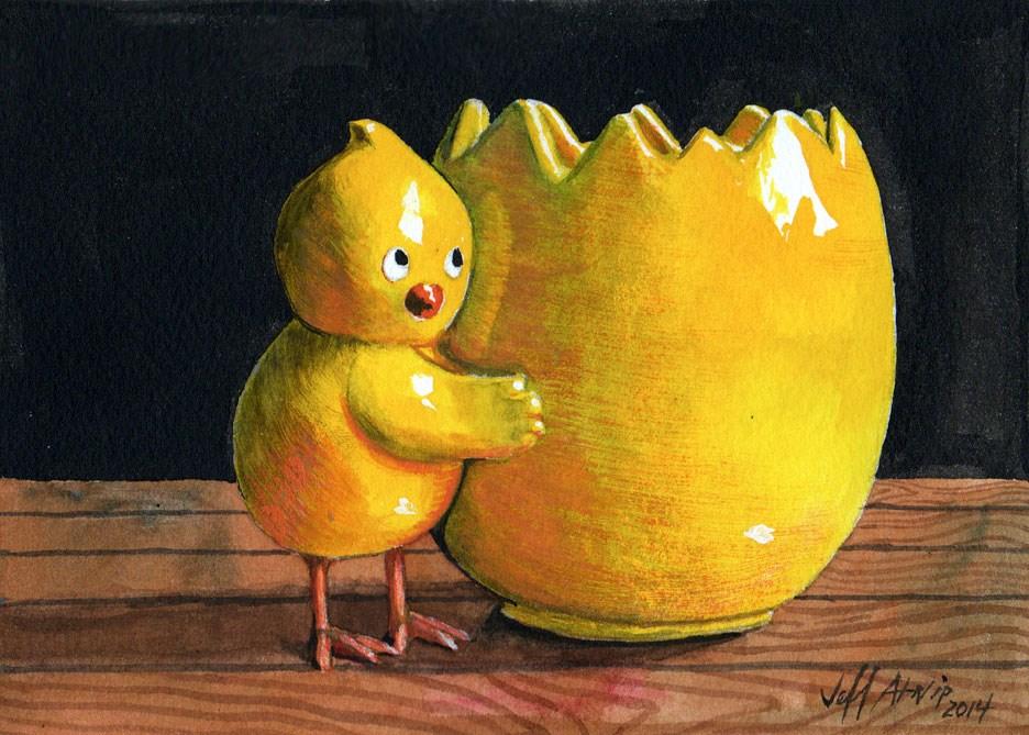"""Cute Chick"" original fine art by Jeff Atnip"