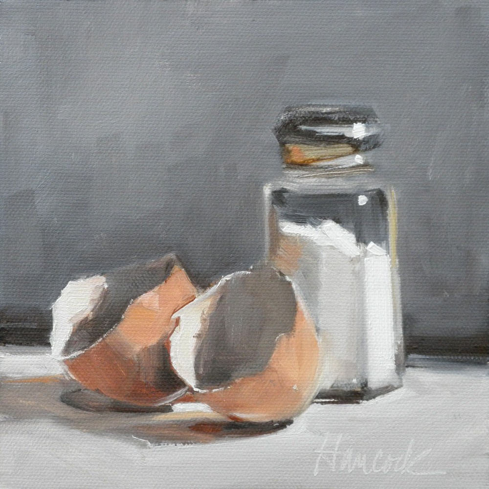 """Salt Shaker and Two Eggshells on Gray"" original fine art by Gretchen Hancock"