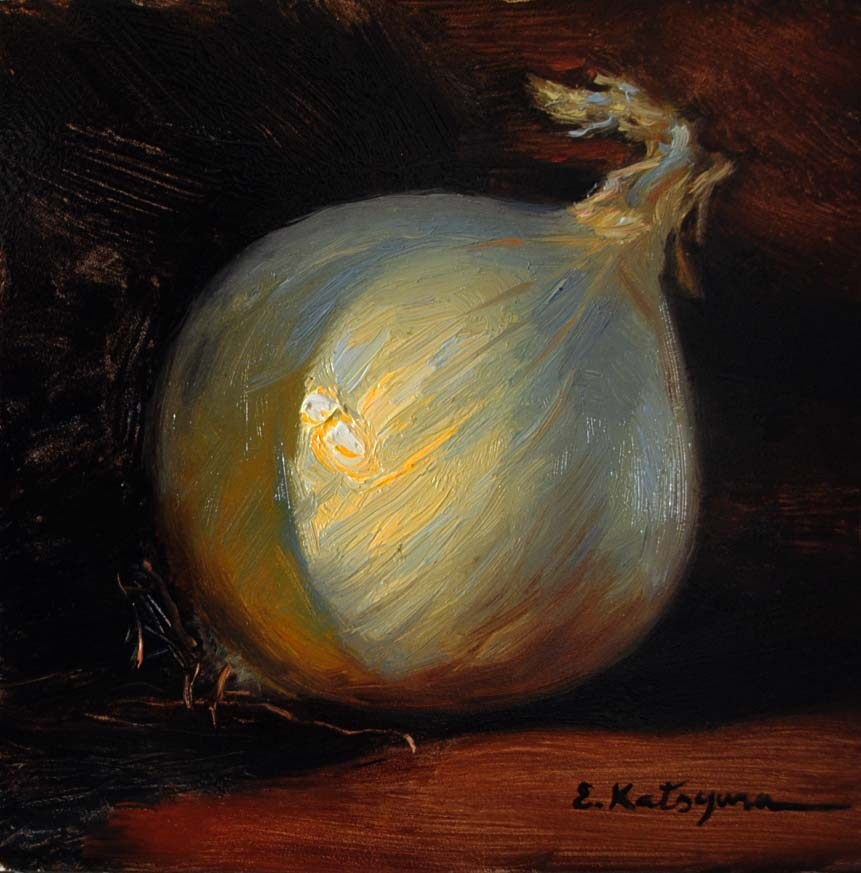 """White Onion"" original fine art by Elena Katsyura"