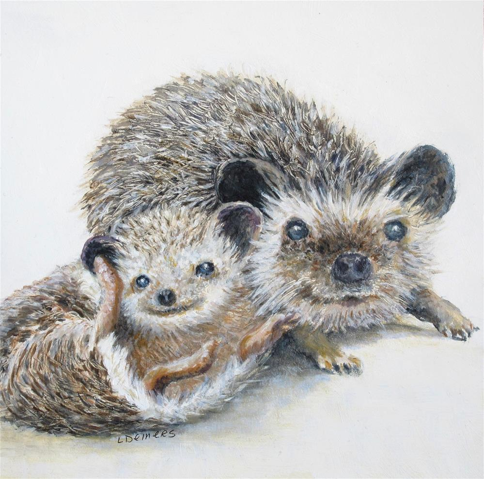 """Hedgehog Chums"" original fine art by Linda Demers"