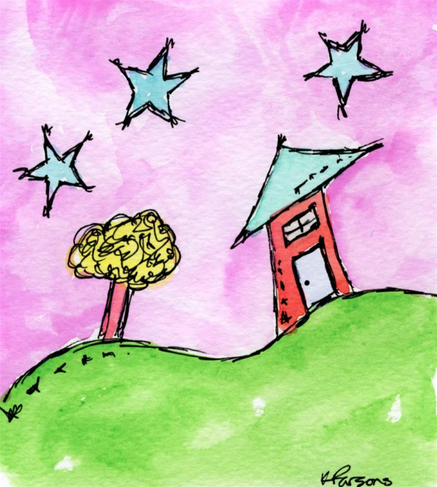 """A House, A Tree, and Three Stars"" original fine art by Kali Parsons"