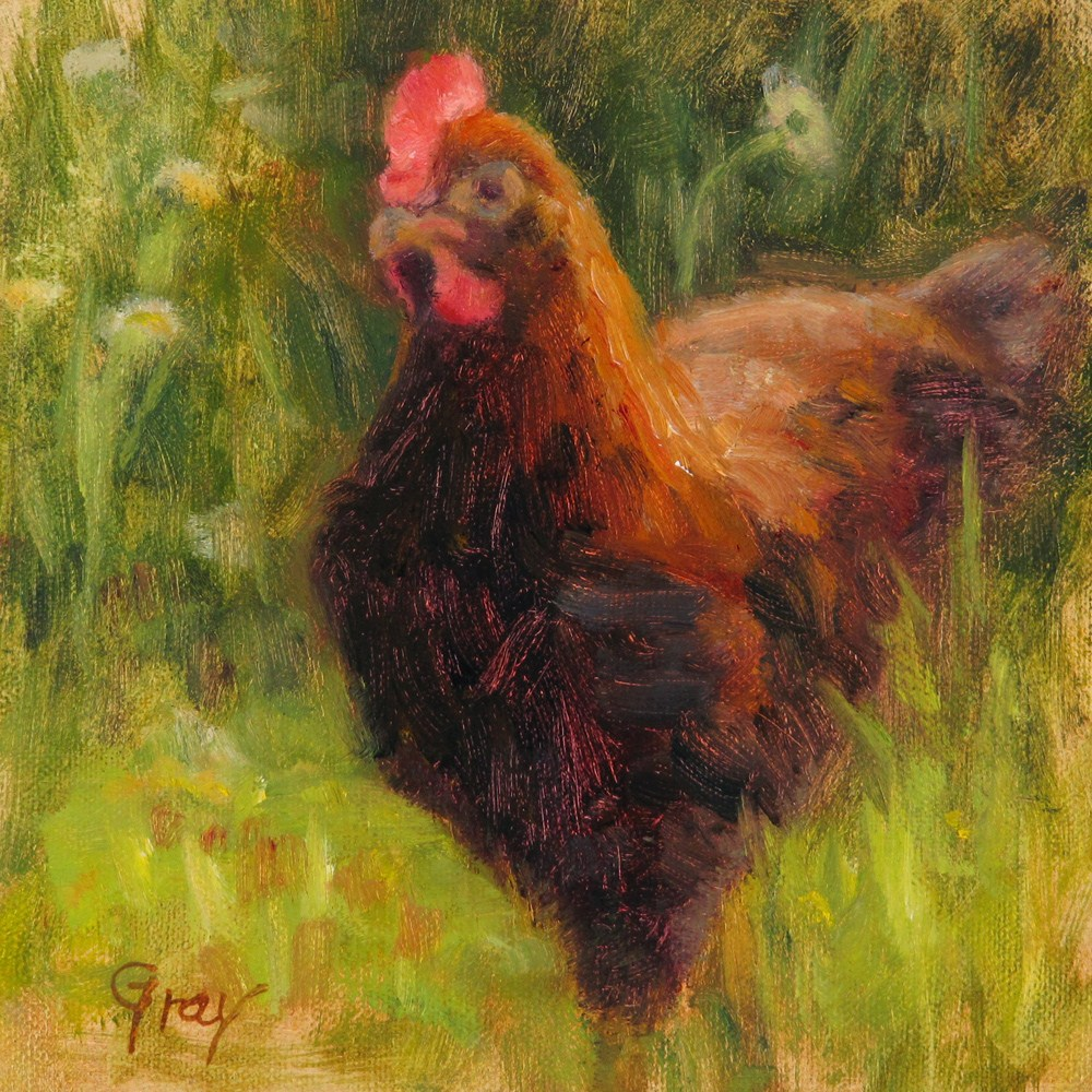"""Little Rooster"" original fine art by Naomi Gray"