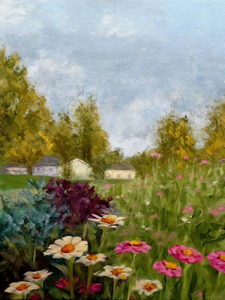 """Zinnias In The Garden"" original fine art by Dalan Wells"