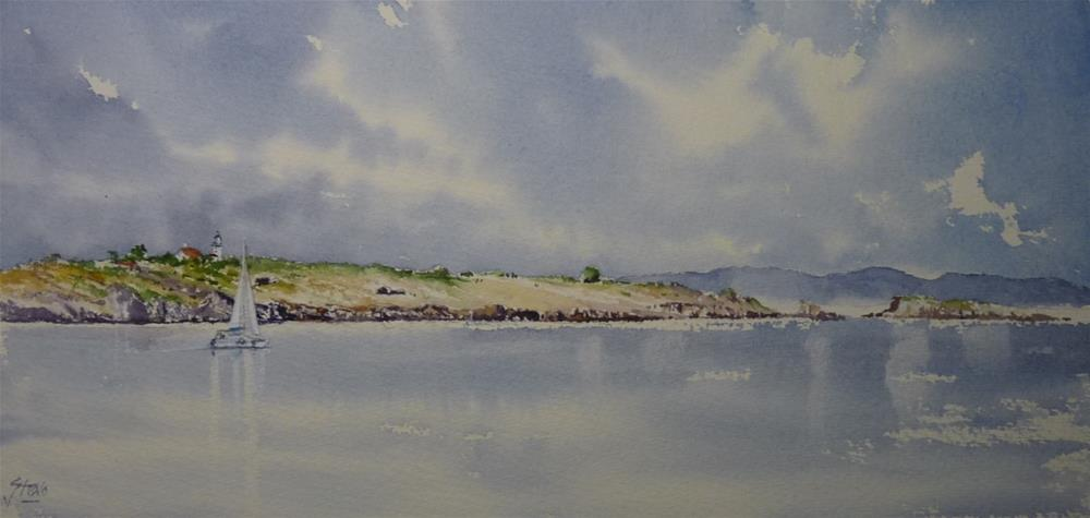 """The yacht and the Islands"" original fine art by Martin Stephenson"