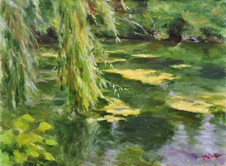 """A Pond at Notre Dame"" original fine art by Scott Harding"