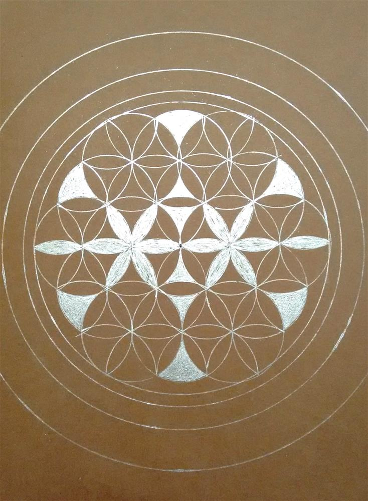 """Mandala on Brown"" original fine art by Adéla Svobodová"