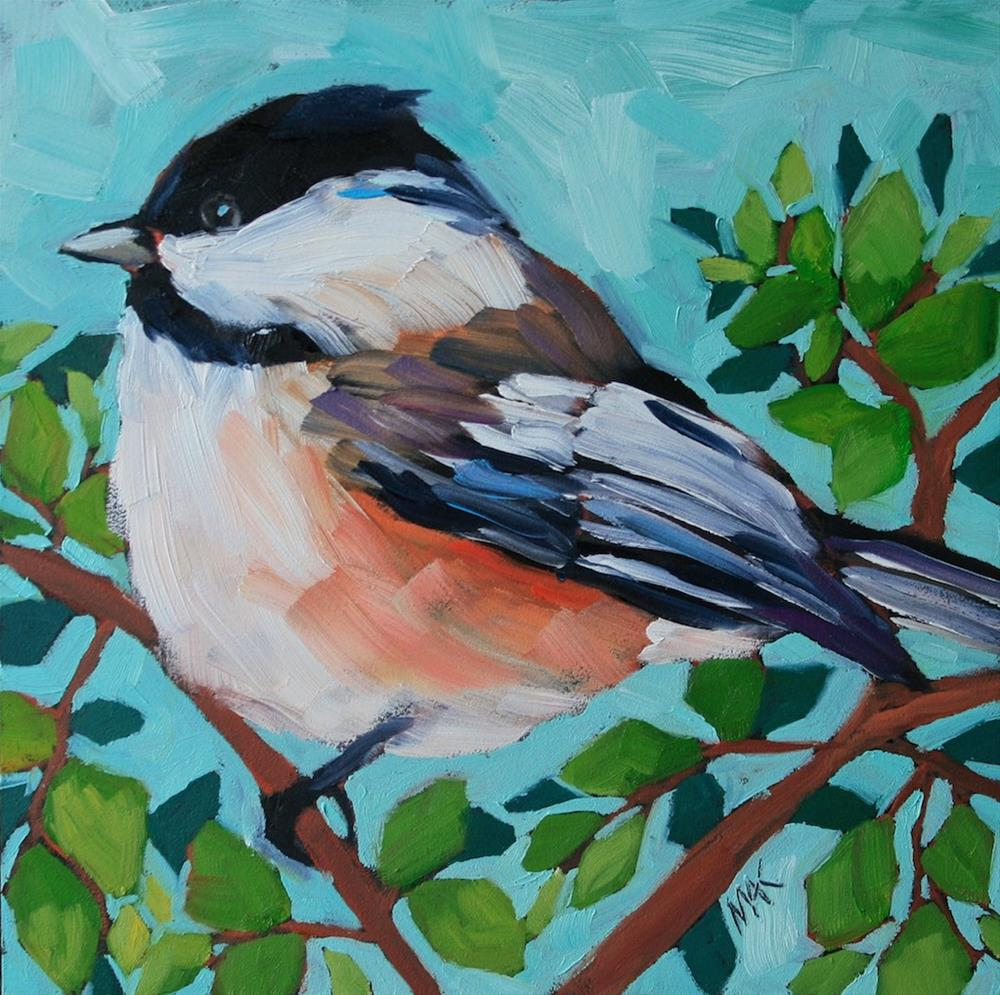"""Chickadee and Blue Sky"" original fine art by Mary Anne Cary"