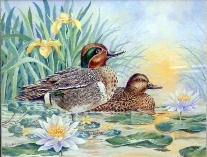 """Green Teals, framed"" original fine art by Jean Pierre DeBernay"