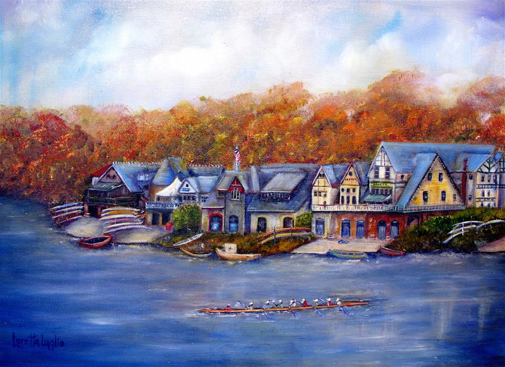 """Boathouse Row in Philadelphia"" original fine art by Loretta Luglio"