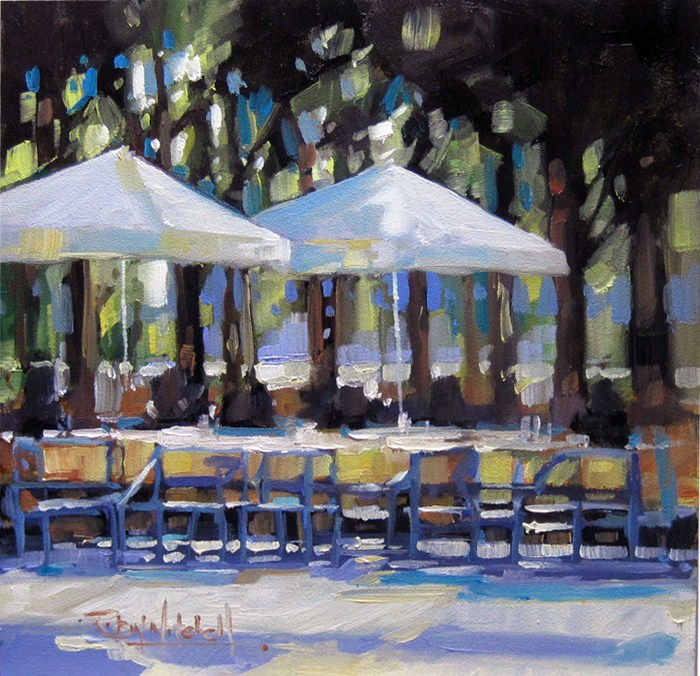 """No 580 Afternoon Umbrellas"" original fine art by Robin J Mitchell"