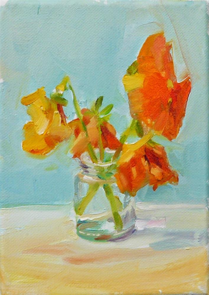 """Orange Pansies in Small Glass Jar,still life,oil on canvas,7x5,price$200"" original fine art by Joy Olney"