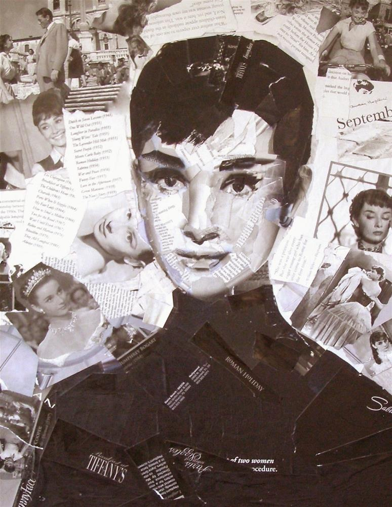 """Audrey Hepburn, 16x20 Collage"" original fine art by Carmen Beecher"