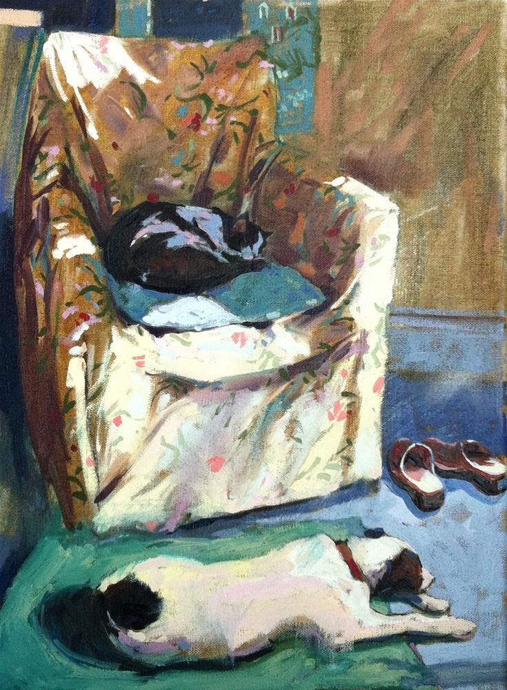 """""""Lola and Maisie in the studio"""" original fine art by Haidee-Jo Summers ROI"""