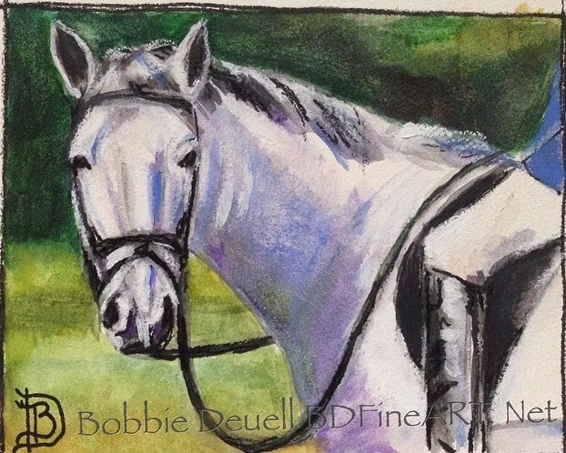 """""""#12 Grey Dressage Horse"""" original fine art by Bobbie Deuell"""