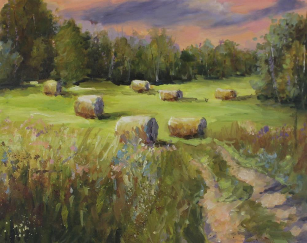 """Original oil hay bales midwest landscape painting"" original fine art by Alice Harpel"