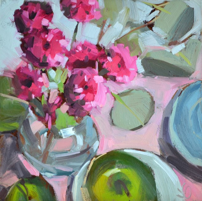 """Apples and Blooms"" original fine art by Jessica Green"