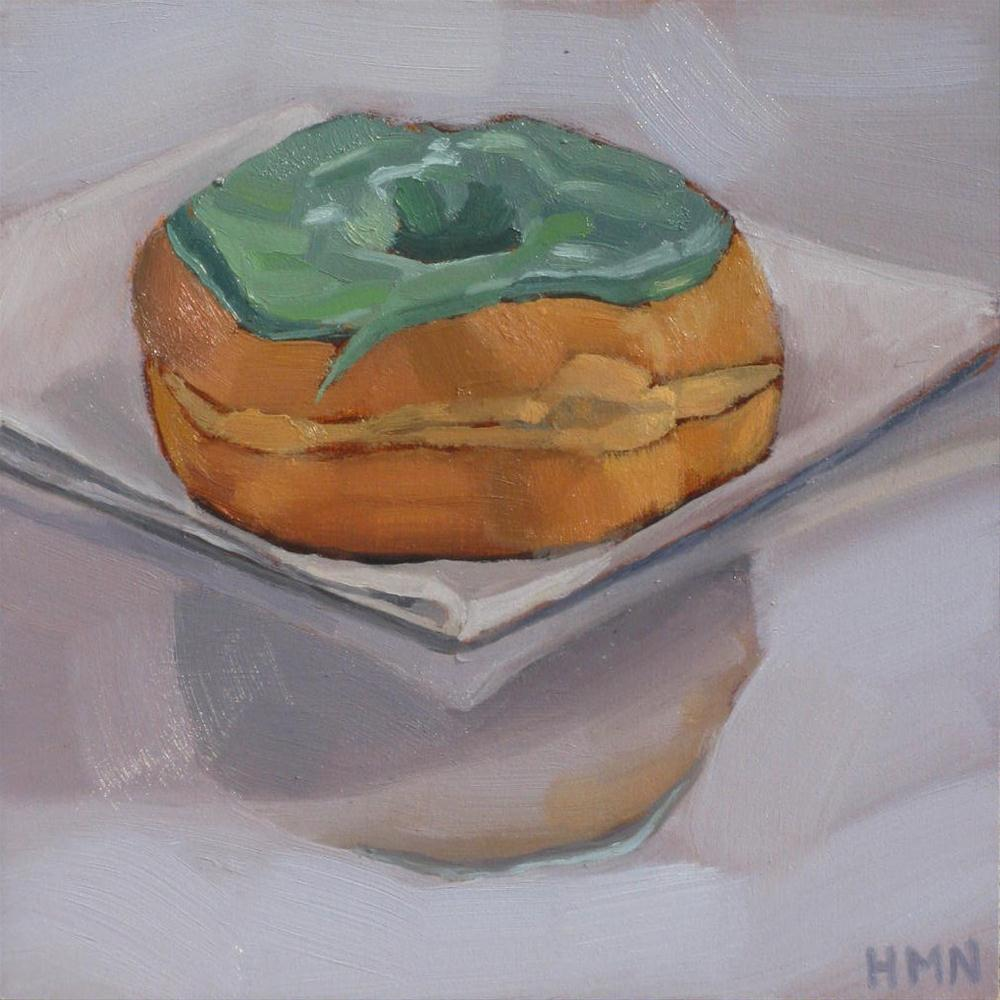 """Jolly Green Donut"" original fine art by Heather Nibert"