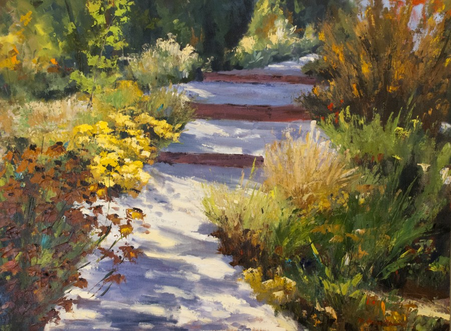 """KM2863 Enchanted Path by Denver, Colorado artist Kit Hevron Mahoney (30x40 oil landscape)"" original fine art by Kit Hevron Mahoney"