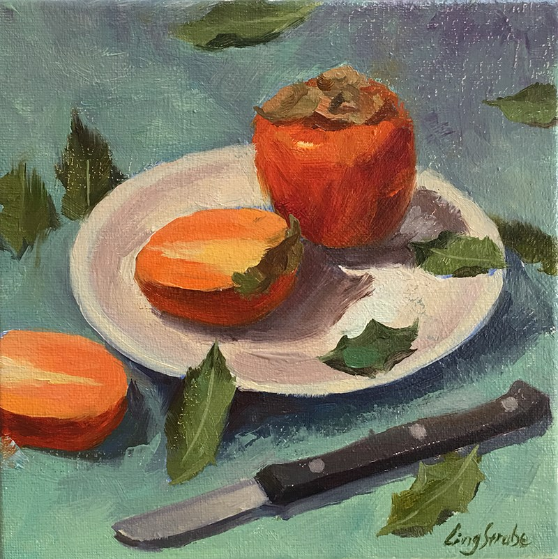 """Persimmons and a knife"" original fine art by Ling Strube"